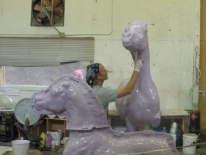 Latex mold: layers of latex are applied to the full-size sculpture mold.