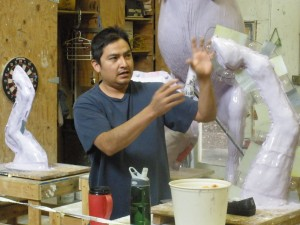 Mold-making: careful planning is required to determine how segments of a large sculpture will be disassembled and reconstructed.