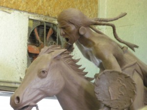 Model: large works like this use an inner foam structure to maintain the structural integrity of the clay or wax model.