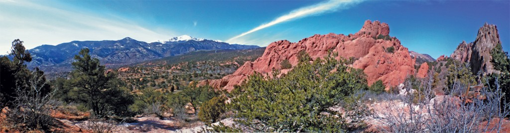 Garden of the Gods Park, looking west toward Pikes Peak.