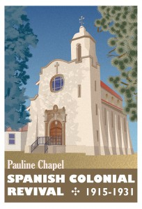 Pauline Chapel poster in the style of A.M. Cassandre